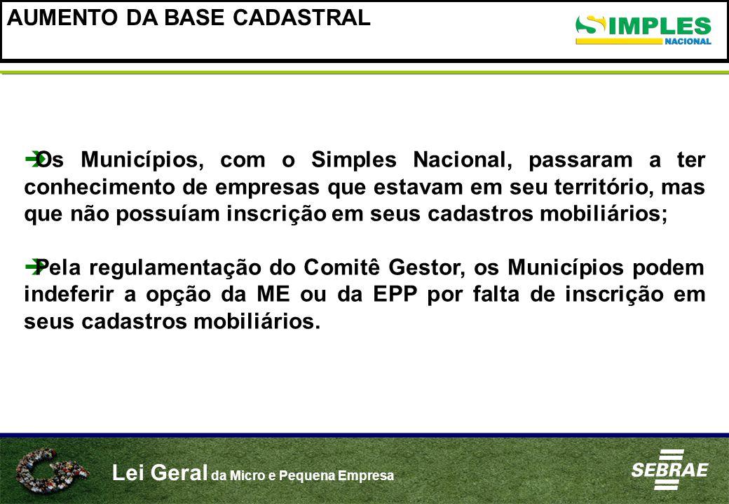 AUMENTO DA BASE CADASTRAL