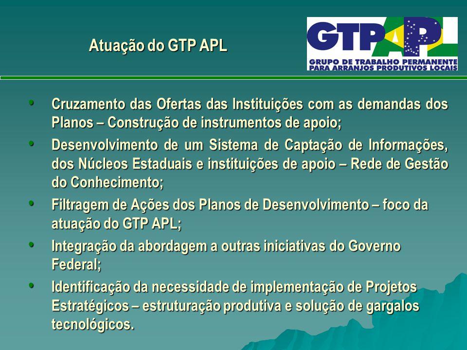 Atuação do GTP APL Cruzamento das Ofertas das Instituições com as demandas dos Planos – Construção de instrumentos de apoio;