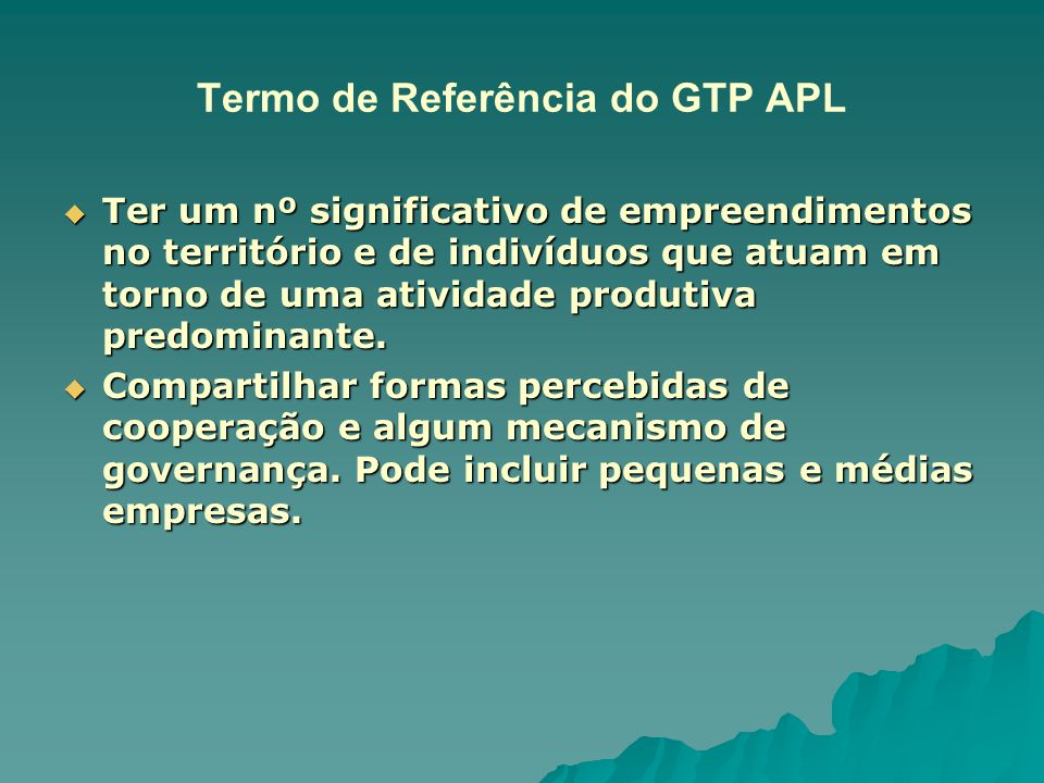 Termo de Referência do GTP APL
