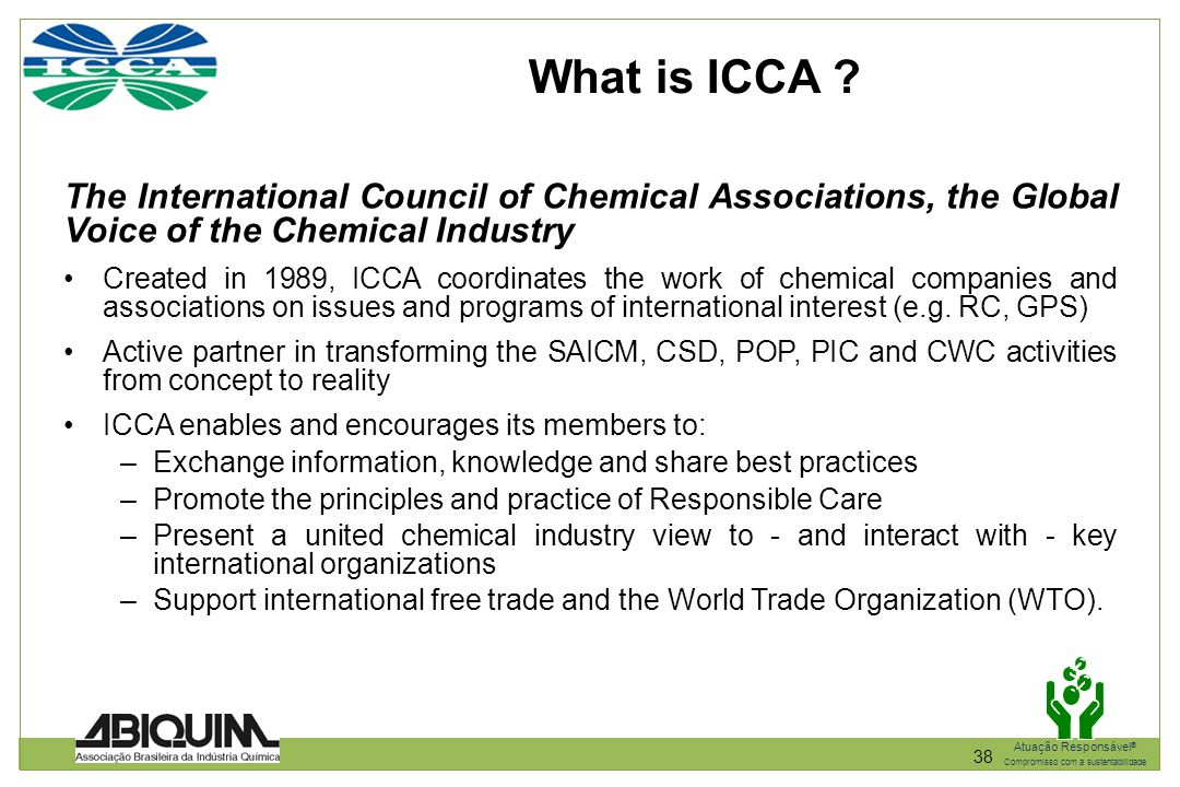 What is ICCA The International Council of Chemical Associations, the Global Voice of the Chemical Industry.