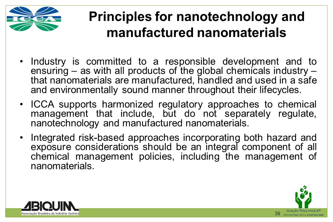 Principles for nanotechnology and manufactured nanomaterials