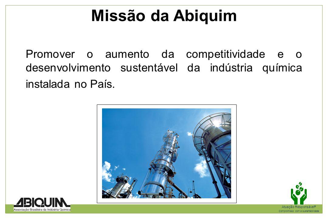Missão da Abiquim Promover o aumento da competitividade e o desenvolvimento sustentável da indústria química instalada no País.