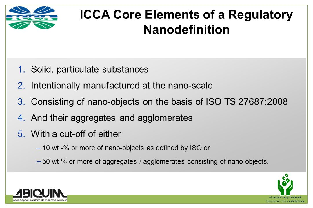 ICCA Core Elements of a Regulatory Nanodefinition