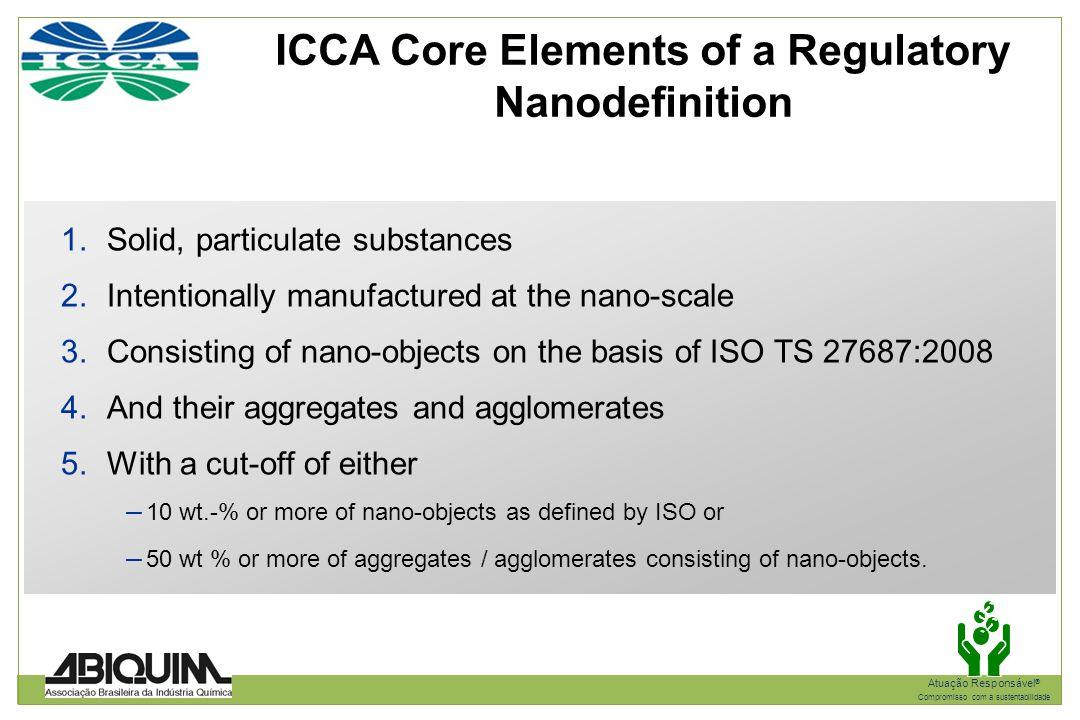 ICCA Core Elements of a Regulatory Nanodefinition
