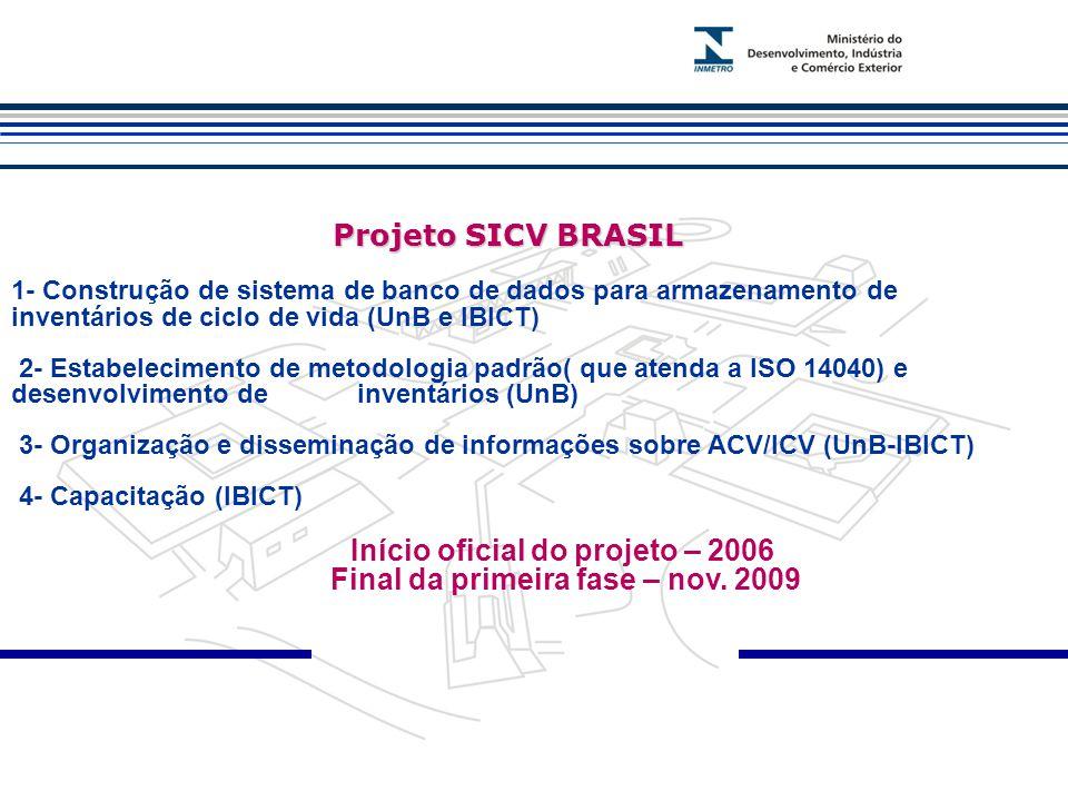 Início oficial do projeto – 2006 Final da primeira fase – nov. 2009