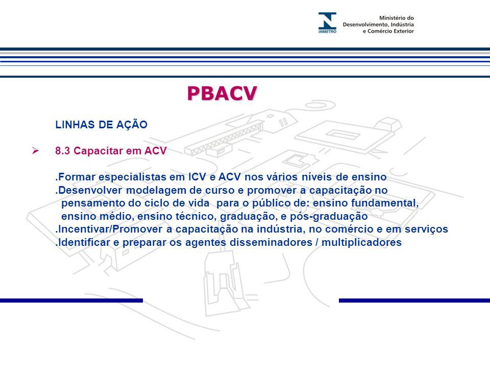 PBACV LINHAS DE AÇÃO 8.3 Capacitar em ACV