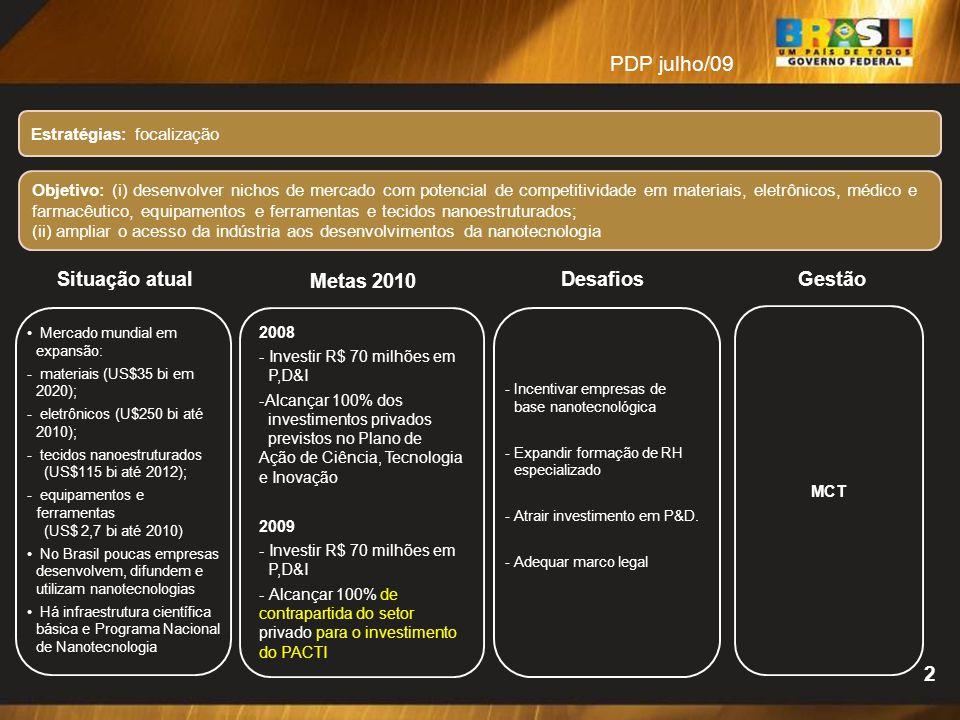 PDP julho/09 2 Situação atual Metas 2010 Desafios Gestão