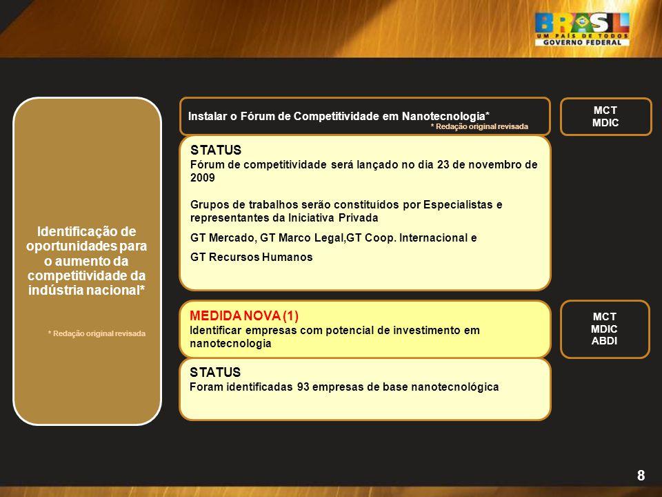 Identificação de oportunidades para o aumento da competitividade da indústria nacional*