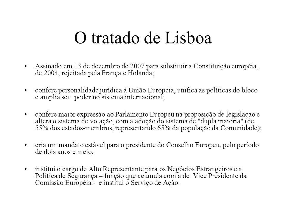 O tratado de Lisboa Assinado em 13 de dezembro de 2007 para substituir a Constituição européia, de 2004, rejeitada pela França e Holanda;