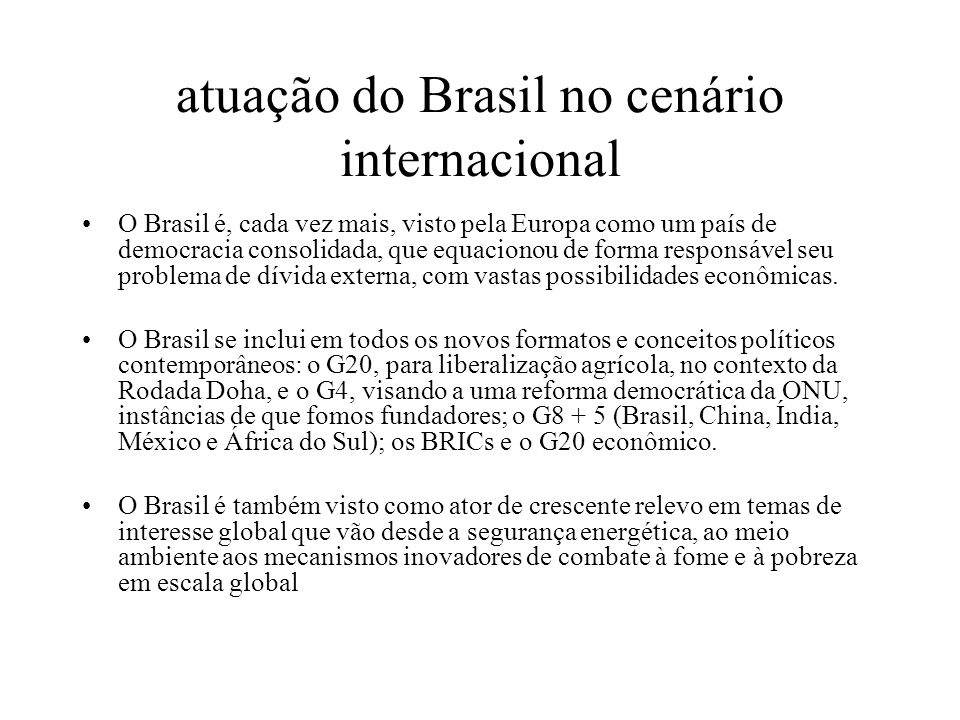 atuação do Brasil no cenário internacional