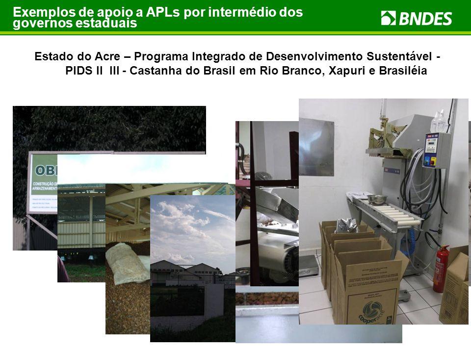 Exemplos de apoio a APLs por intermédio dos governos estaduais