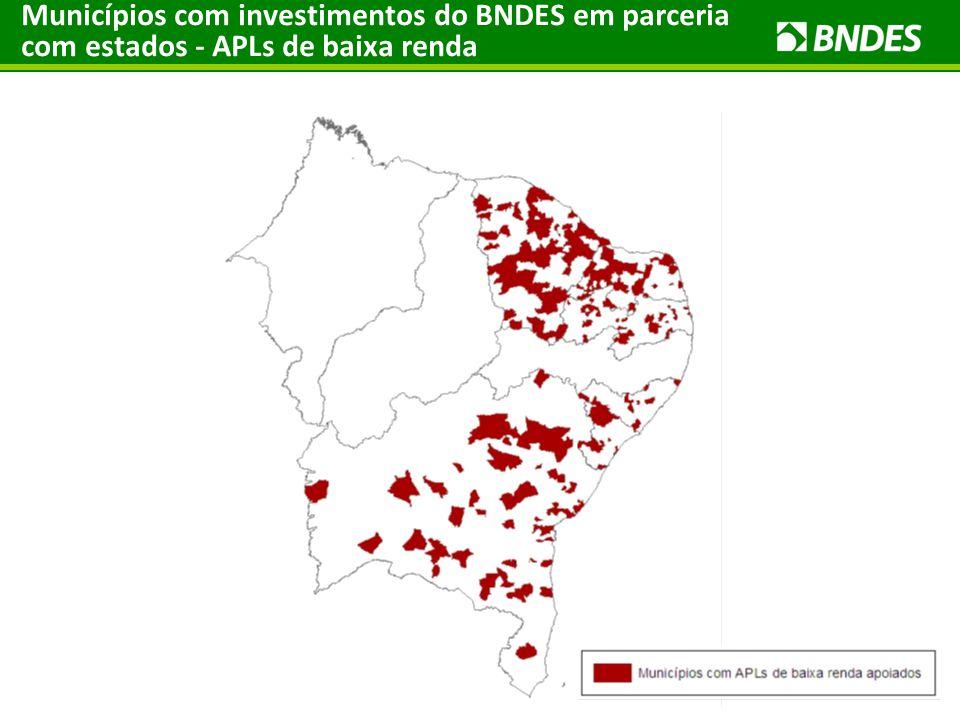 Municípios com investimentos do BNDES em parceria com estados - APLs de baixa renda
