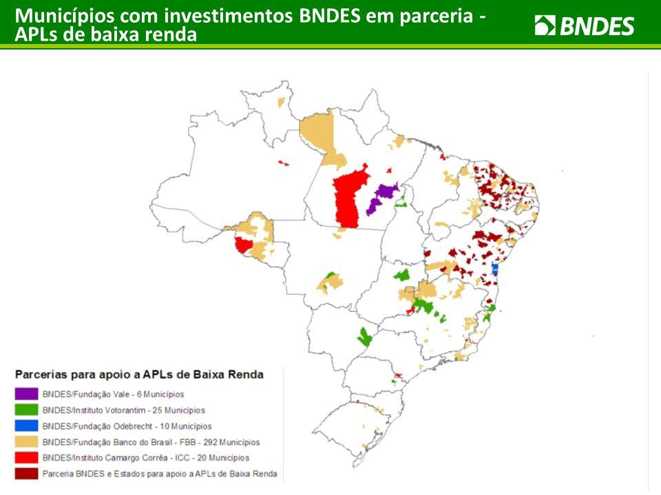 Municípios com investimentos BNDES em parceria - APLs de baixa renda