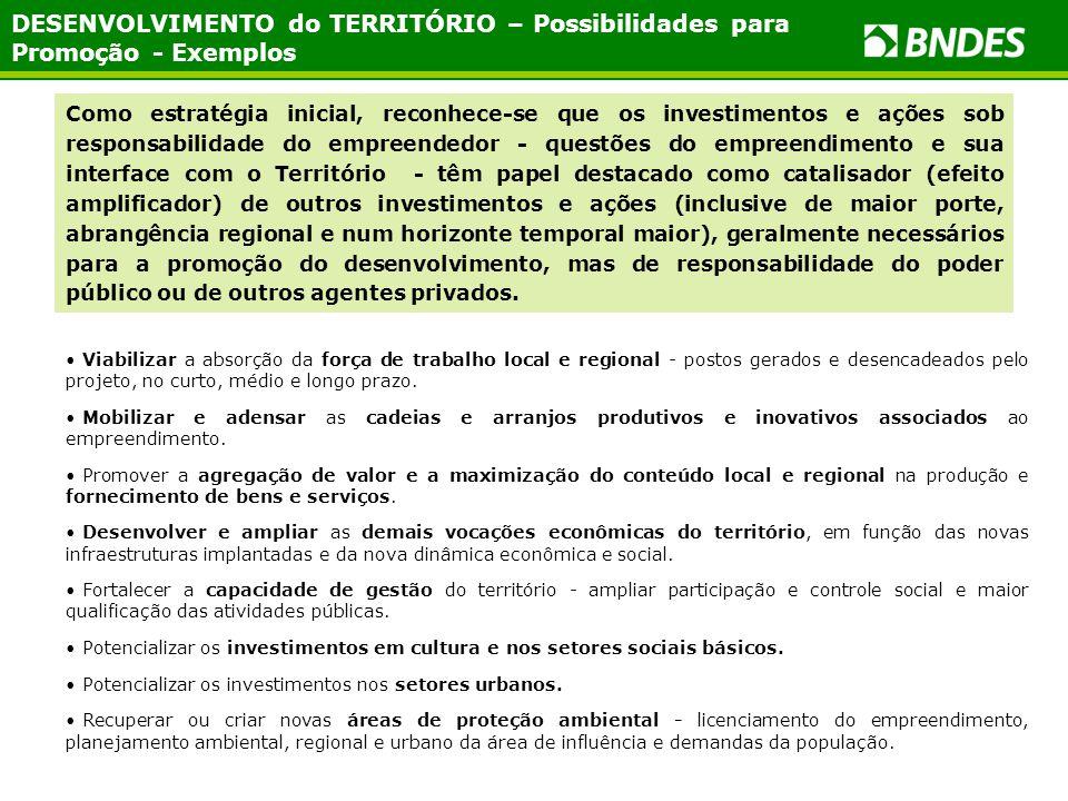 DESENVOLVIMENTO do TERRITÓRIO – Possibilidades para Promoção - Exemplos