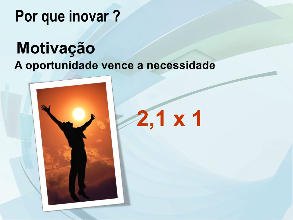 2,1 x 1 Por que inovar Motivação A oportunidade vence a necessidade
