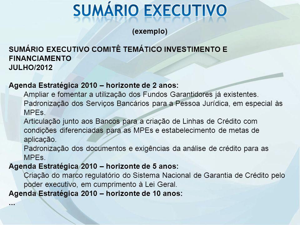 SUMÁRIO EXECUTIVO (exemplo)