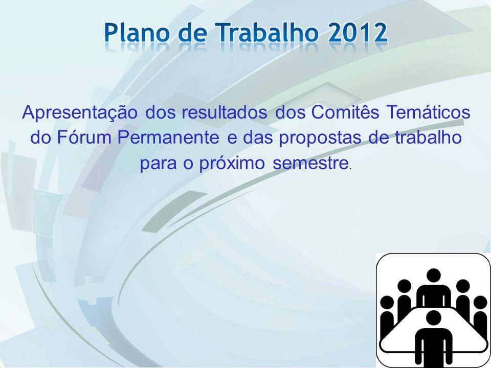 Plano de Trabalho 2012 Apresentação dos resultados dos Comitês Temáticos do Fórum Permanente e das propostas de trabalho para o próximo semestre.
