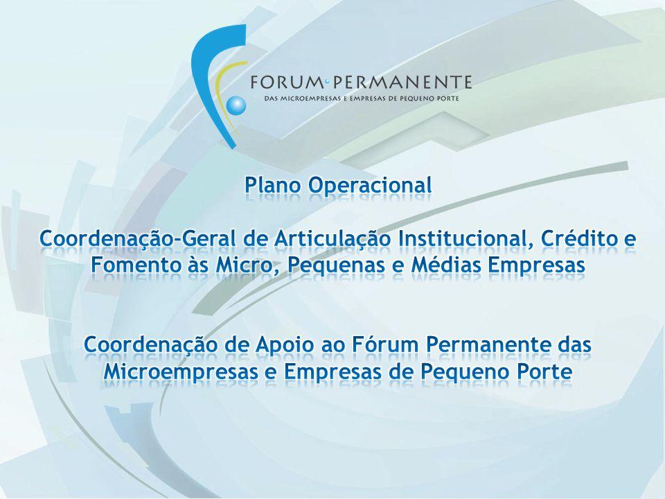 Plano Operacional Coordenação-Geral de Articulação Institucional, Crédito e Fomento às Micro, Pequenas e Médias Empresas.