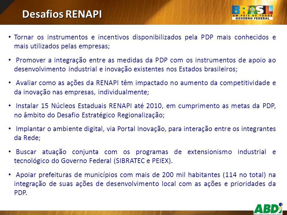 Desafios RENAPI Tornar os instrumentos e incentivos disponibilizados pela PDP mais conhecidos e mais utilizados pelas empresas;