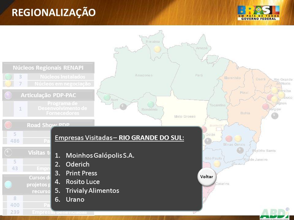 REGIONALIZAÇÃO Empresas Visitadas – RIO GRANDE DO SUL: