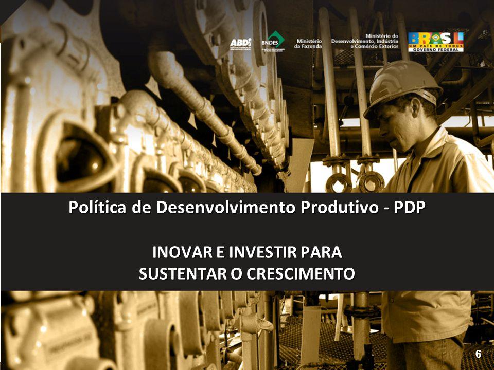 Política de Desenvolvimento Produtivo - PDP INOVAR E INVESTIR PARA SUSTENTAR O CRESCIMENTO
