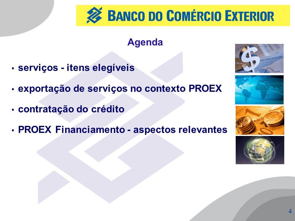 Agenda serviços - itens elegíveis. exportação de serviços no contexto PROEX. contratação do crédito.