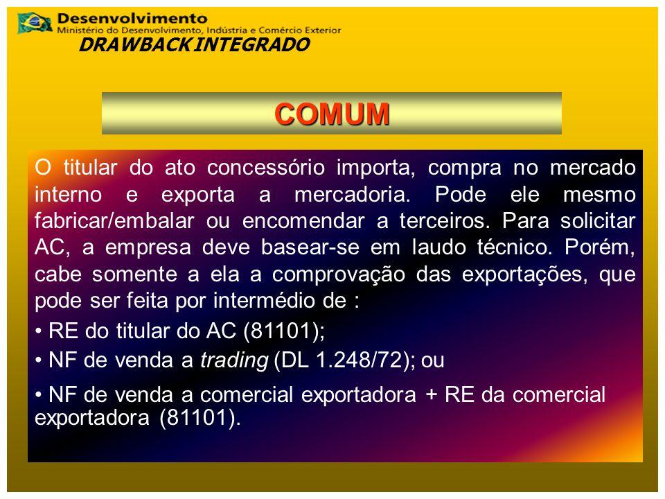 DRAWBACK INTEGRADO COMUM.