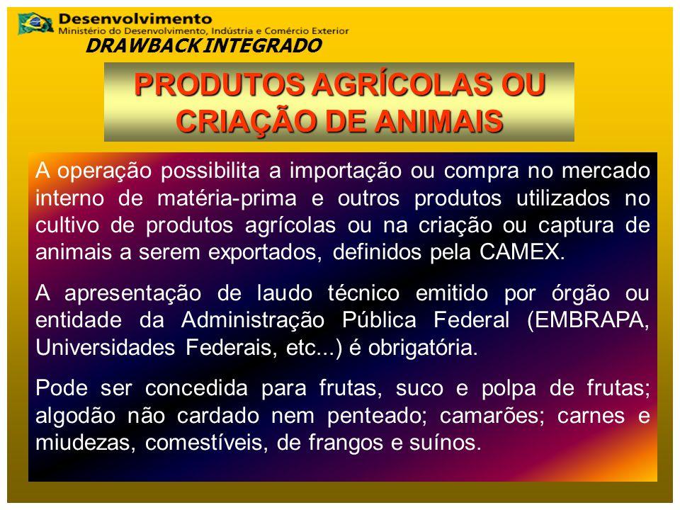 PRODUTOS AGRÍCOLAS OU CRIAÇÃO DE ANIMAIS