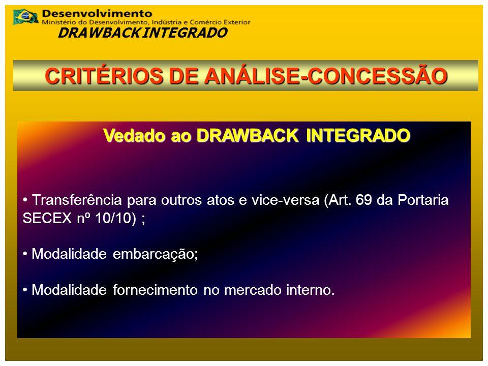 CRITÉRIOS DE ANÁLISE-CONCESSÃO Vedado ao DRAWBACK INTEGRADO