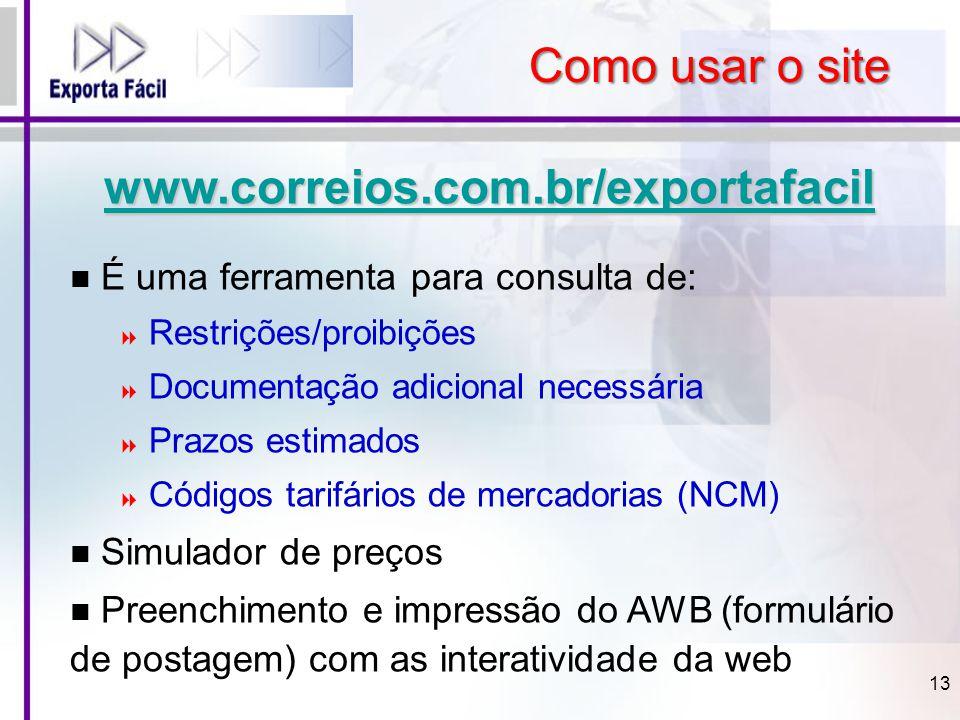 Como usar o site www.correios.com.br/exportafacil