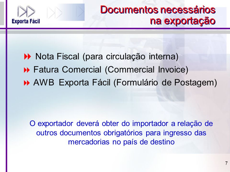 Documentos necessários na exportação