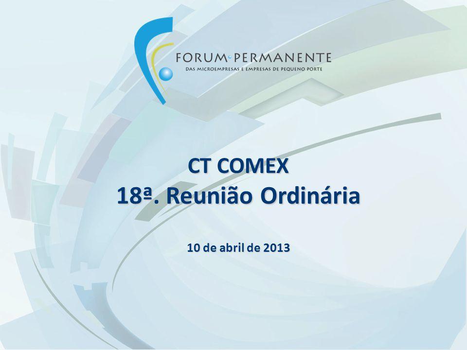 CT COMEX 18ª. Reunião Ordinária 10 de abril de 2013