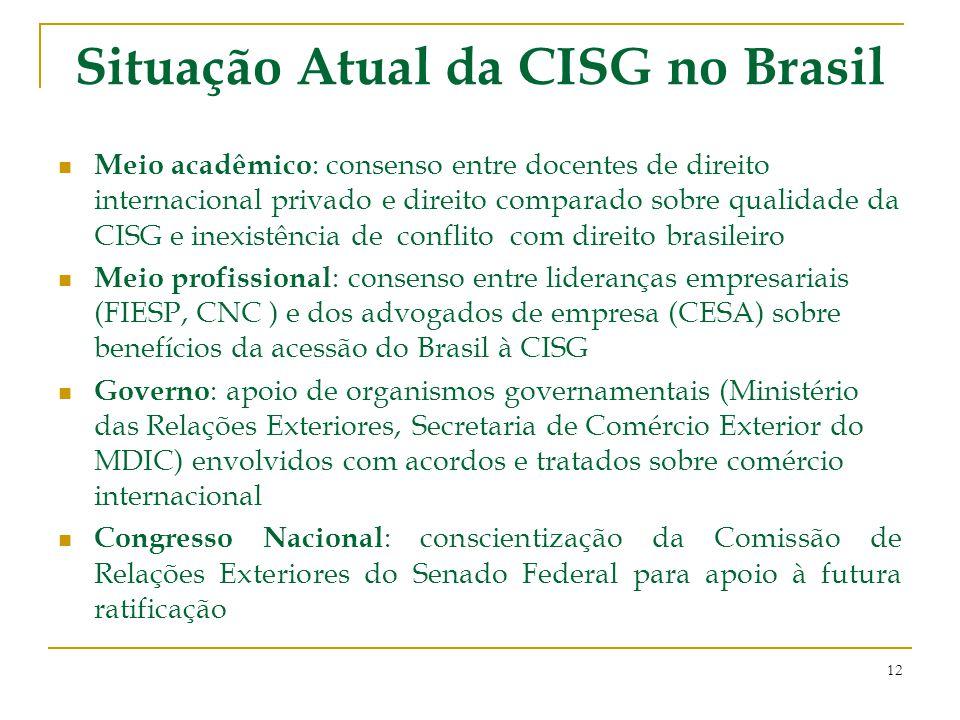 Situação Atual da CISG no Brasil