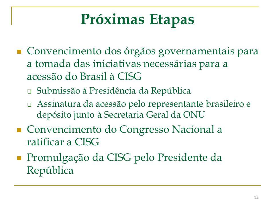 Próximas Etapas Convencimento dos órgãos governamentais para a tomada das iniciativas necessárias para a acessão do Brasil à CISG.