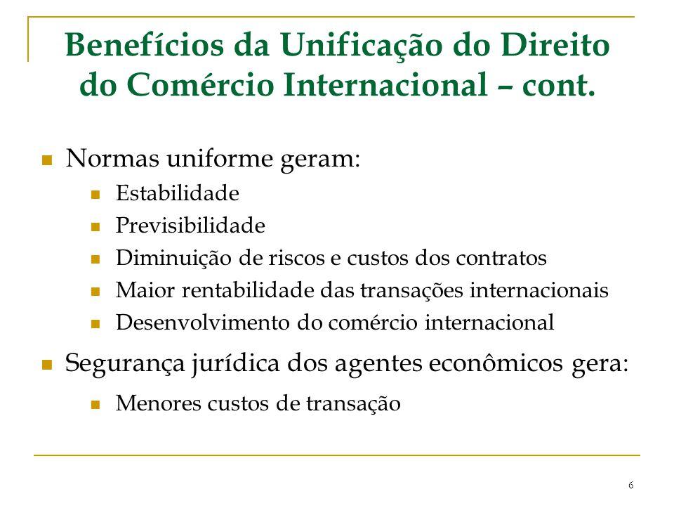 Benefícios da Unificação do Direito do Comércio Internacional – cont.