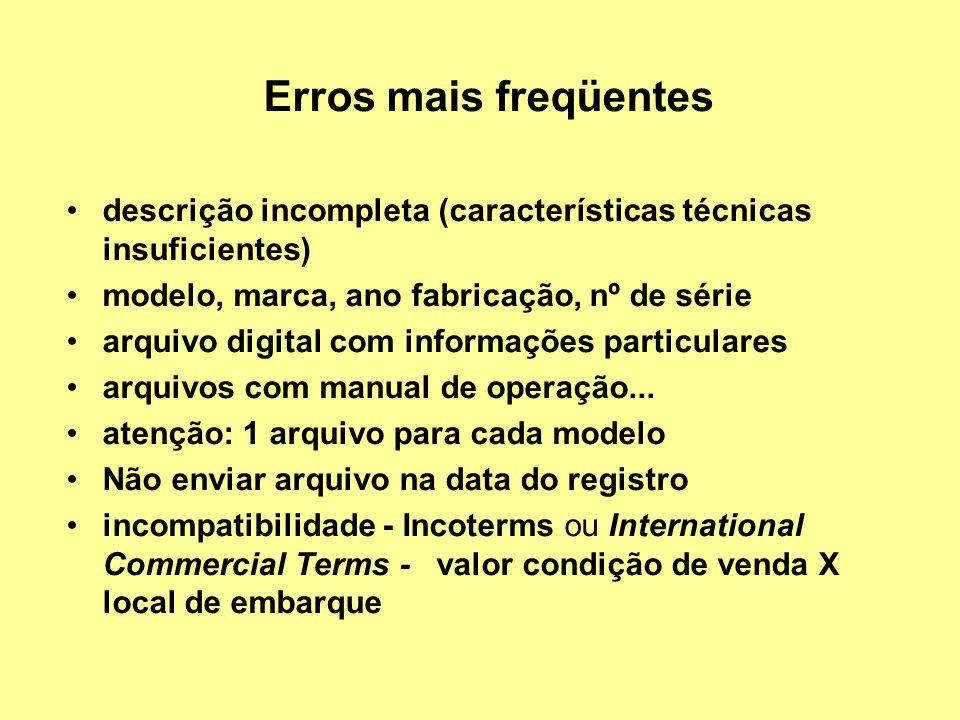 Erros mais freqüentes descrição incompleta (características técnicas insuficientes) modelo, marca, ano fabricação, nº de série.