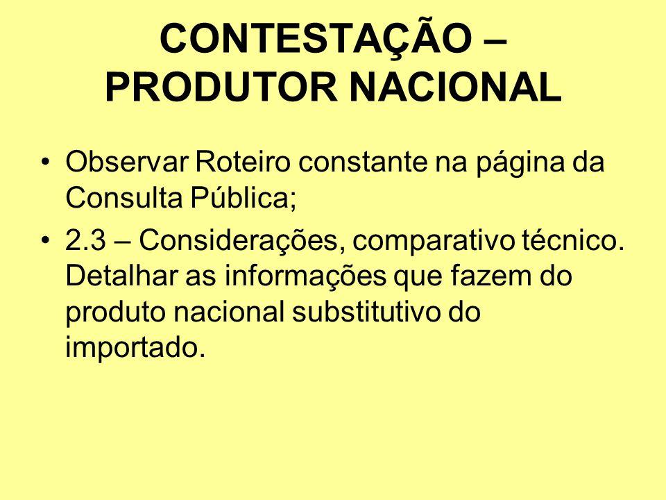 CONTESTAÇÃO – PRODUTOR NACIONAL