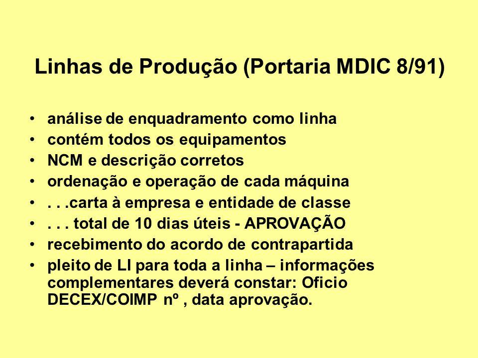 Linhas de Produção (Portaria MDIC 8/91)