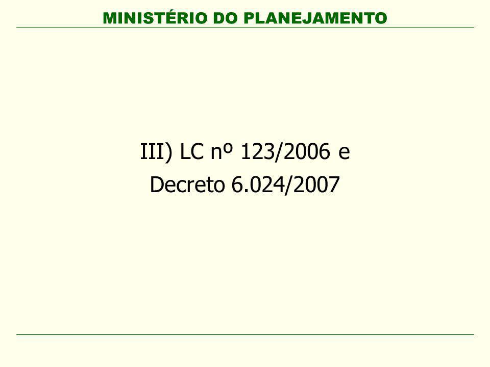 III) LC nº 123/2006 e Decreto 6.024/2007