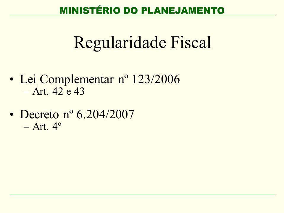 Regularidade Fiscal Lei Complementar nº 123/2006 Decreto nº 6.204/2007