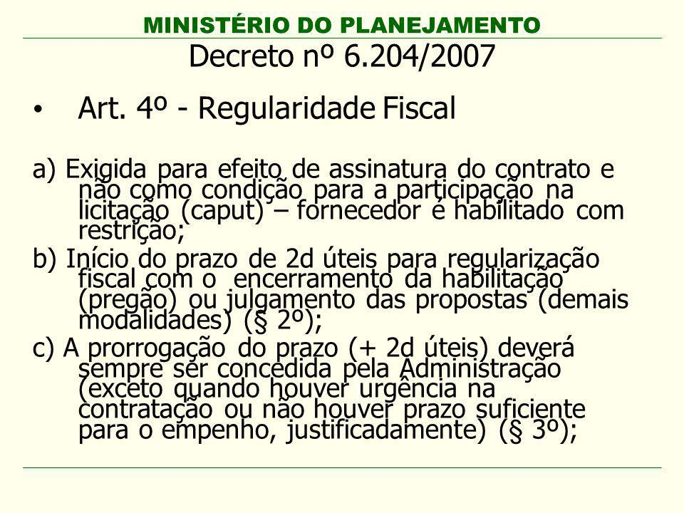 Art. 4º - Regularidade Fiscal