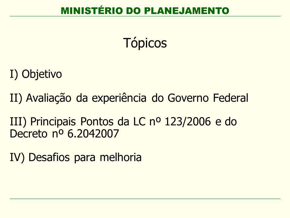 Tópicos I) Objetivo II) Avaliação da experiência do Governo Federal