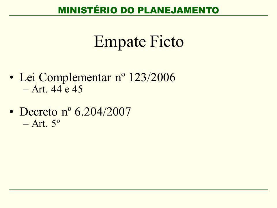 Empate Ficto Lei Complementar nº 123/2006 Decreto nº 6.204/2007