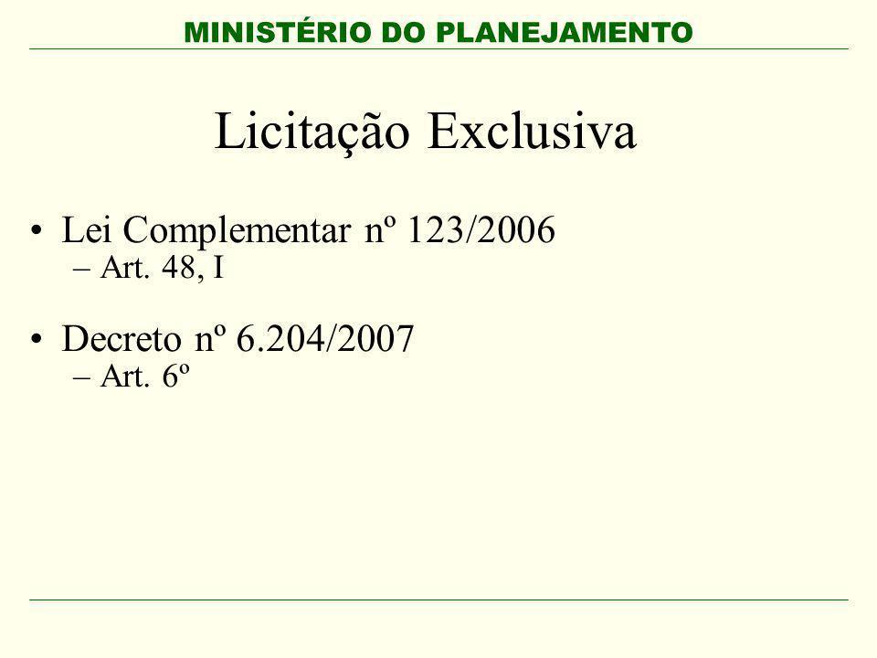 Licitação Exclusiva Lei Complementar nº 123/2006 Decreto nº 6.204/2007