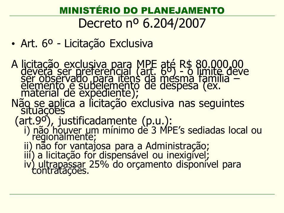 Decreto nº 6.204/2007 Art. 6º - Licitação Exclusiva