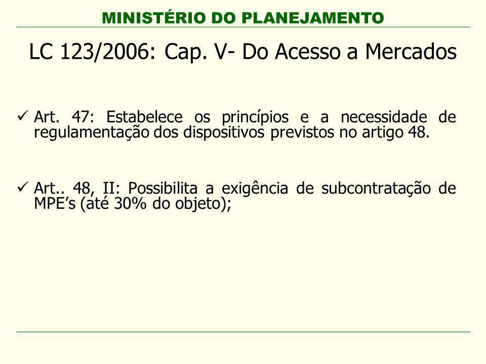 LC 123/2006: Cap. V- Do Acesso a Mercados