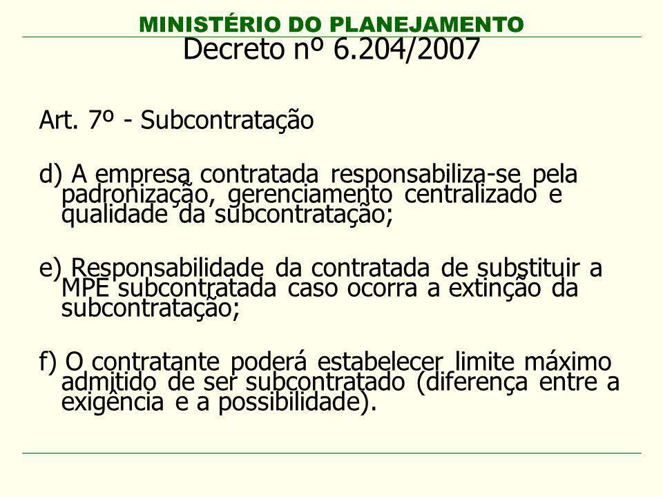 Decreto nº 6.204/2007 Art. 7º - Subcontratação