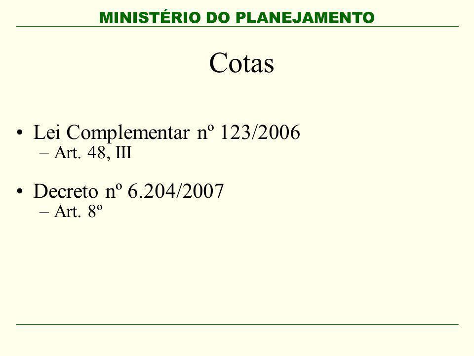 Cotas Lei Complementar nº 123/2006 Decreto nº 6.204/2007 Art. 48, III