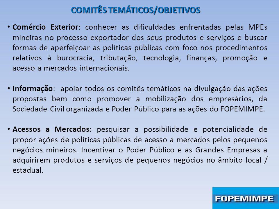 COMITÊS TEMÁTICOS/OBJETIVOS