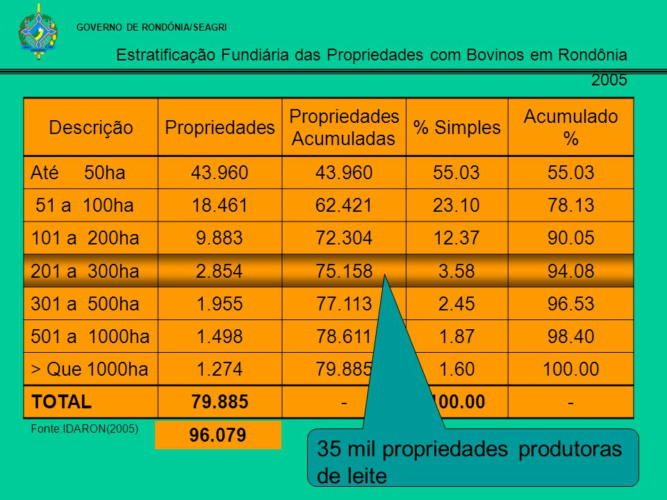 Estratificação Fundiária das Propriedades com Bovinos em Rondônia 2005